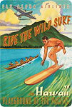 Ride the Wild Surf in Hawaii - Playground of the Pacific - Fly Aloha Airlines - Hawaiian Vintage Postcard