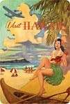 Visit Hawaii - Hawaiian Hula Dancer with Ukulele - Hawaiian Vintage Postcard
