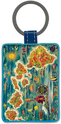 Map of Hawaiian Islands - Hawaiian Leatherette Keychains