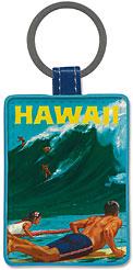 Hawaii - Big Wave Surfing at Waimea - Hawaiian Leatherette Keychains