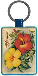 Hawaiian Hibiscus - Hawaiian Leatherette Keychains