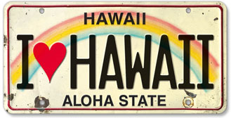 I Love Hawaii - Hawaiian Vintage License Plate