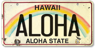 Aloha - Hawaiian Vintage License Plate