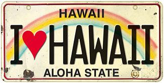 I Love Hawaii - Hawaiian Vintage License Plate Magnets