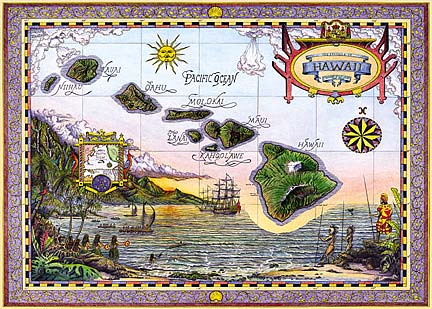 Map of Old Hawaii - Personalized Greeting Card