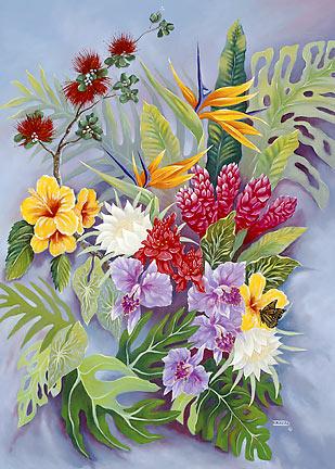 Hawaiian Sympathy Greeting Card Island Floral Warren