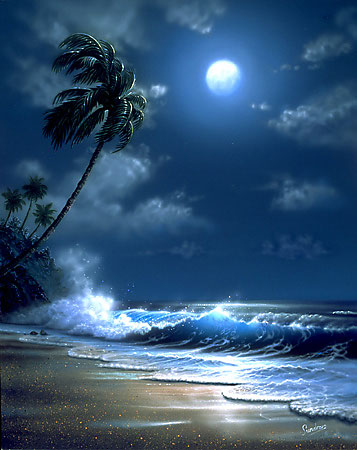 Hawaiian Artists Showcase Tropical Moonlight Giclee Fine Art Prints By St