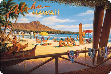 Hawaiian Vintage Postcard - Aloha Hawaii (Beach) - Kerne
