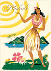 Hawaii, United Air - Hawaiian Mahalo / Thank You Greeting Card