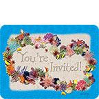 Coral Invitation Lei - Hawaiian Invitation Note Cards