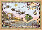 Map of Old Hawaii - Hawaii Magnet