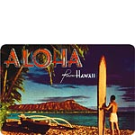 Outrigger & Diamond Head - Hawaiian Vintage Postcard