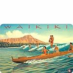Waikiki - Hawaiian Vintage Postcard