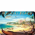Waikiki Beach - Hawaiian Vintage Postcard