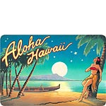 Aloha Hawaii (Moon) - Hawaiian Vintage Postcard