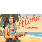 Aloha from Hawaii - Hawaiian Vintage Postcard