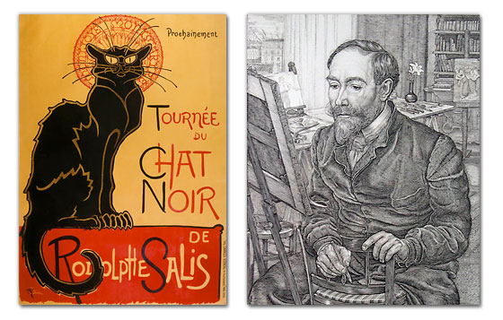 "Théophile Steinlen's iconic poster for the theater troupe ""Chat Noir"" designed in 1896. A portrait of the artist in his studio; engraving by Pieter Dupont (1901)."