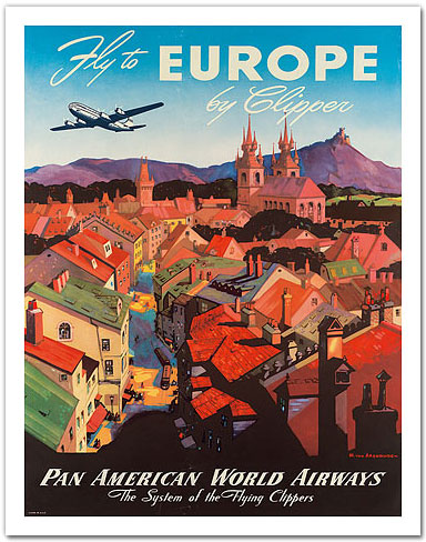 Fly to Europe by Clipper, Mark von Arenburg, ca. 1940's